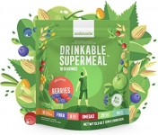 10 x Meal Replacement Nutritional Shake by Ambronite – High Fiber Superfood & Protein Drink for Healthy Weight Loss – All Natural Vegan Smoothie Mix – Quench Hunger (Banana, 1600kcal) – £3.00